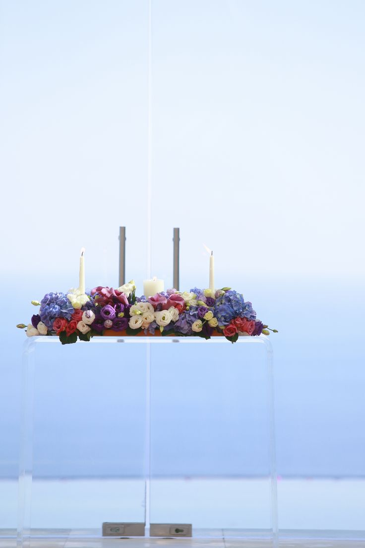 Altar Table dressed up in Purple by Tirtha Bridal Uluwatu Bali