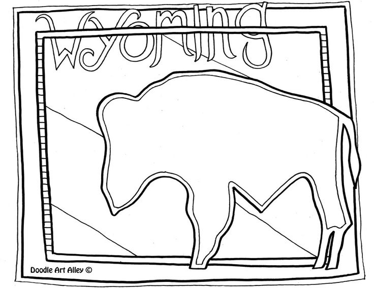 Wyoming Flag Coloring Pages Printable Wyoming Best Free
