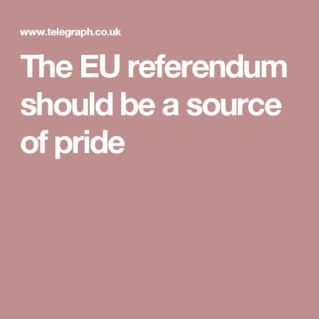 The EU referendum should be a source of pride