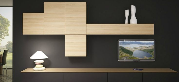 composition murale tv en bois tr s beau contraste de couleurs s jour pinterest tvs. Black Bedroom Furniture Sets. Home Design Ideas