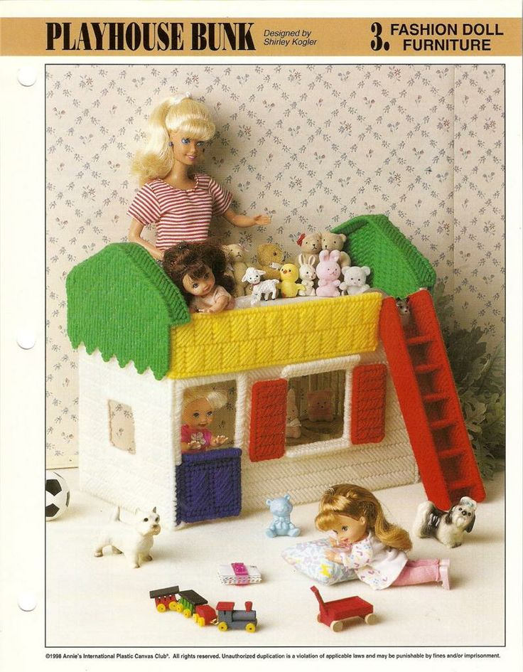 Details About Fashion Doll Furniture Plastic Canvas Pattern Sheet Leaflet Assorted Choice Play