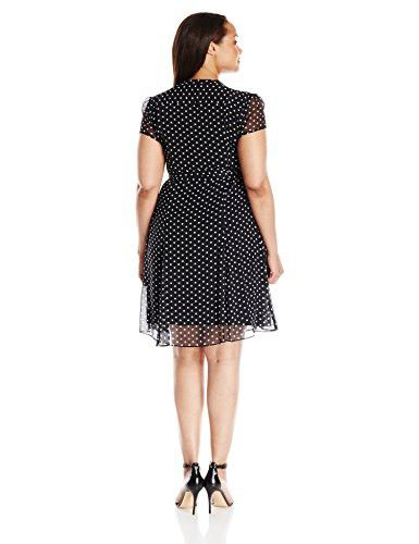 f3af5a55ff28 MSK Women's Plus Size Polka Dot Woven Pintuck Shirtdress, Black/White, 6