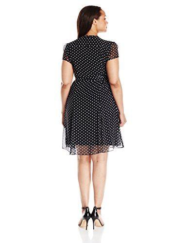 f3af5a55ff28 MSK Women's Plus Size Polka Dot Woven Pintuck Shirtdress, Black/White, 6
