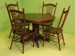 Dark Oak Country Line, table with extension + 4 chairs. PROMO DINING ROOM