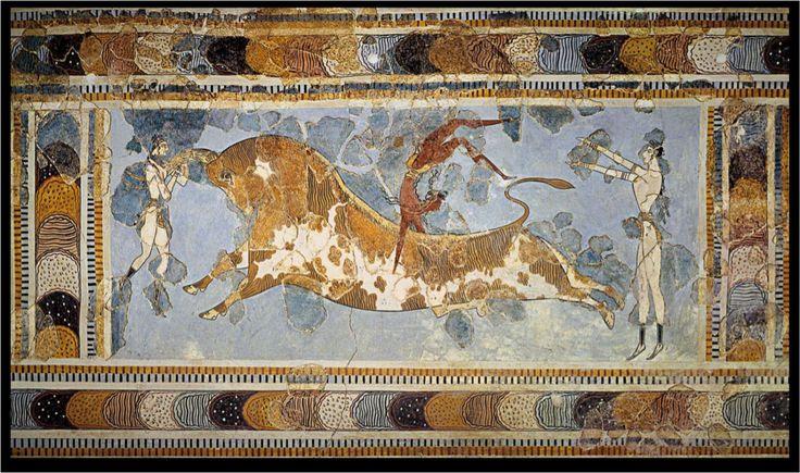 TAUROCATAPSIA- prima pittura raffiguante il tema della taurocatapsia trovato da Evans e parzialmente ricostruito da quest'ultimo, arte minoica, II millennio a.C, Creta