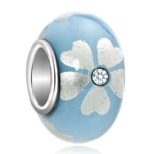 Diamond Accent Silver Tone Lucky Clover Aquamarine Blue Flower Beads Charm Bracelets Pandora Trollbeads Compatible | Charmsstory.com  #blue #clover #murano #charms #pandora #trollbeads #luckycharms