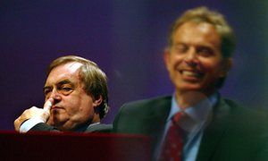John Prescott and Tony Blair on the platform at the Labour party conference in 2003.