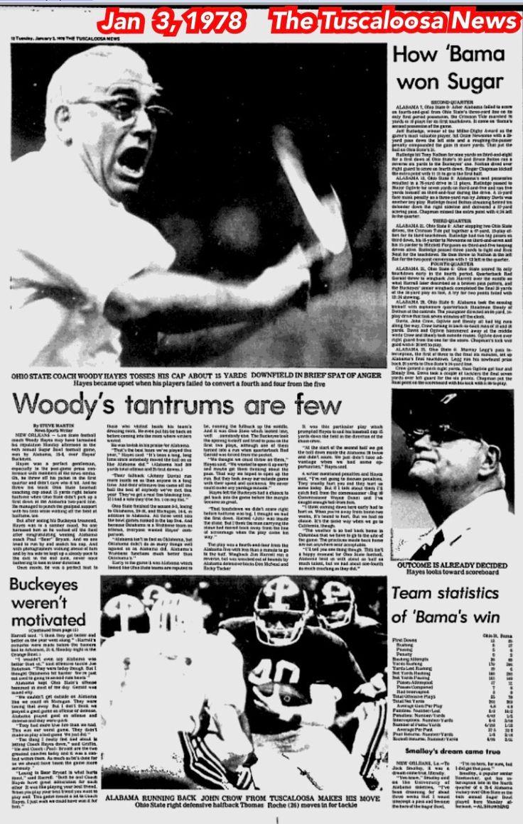 The Tuscaloosa News Jan 3, 1978 Sugar Bowl coverage Bama 35 Buckeyes 6 #Alabama #RollTide #Bama #BuiltByBama #RTR #CrimsonTide #RammerJammer #TheTuscaloosaNews