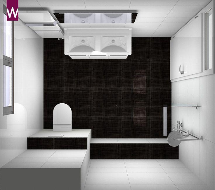 Ruime #badkamer met bijzondere tegels