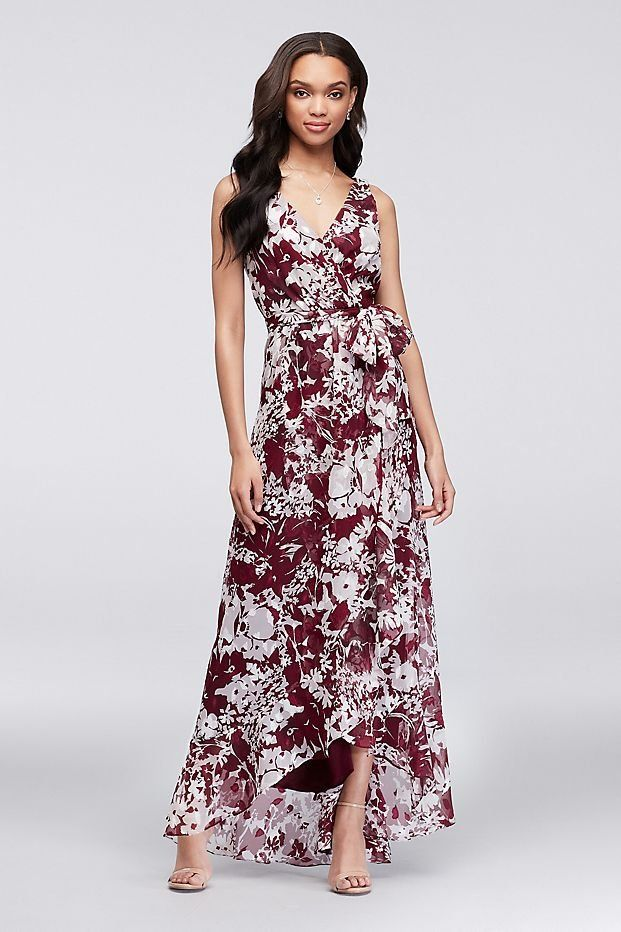 e2707cde2eb1 Faux-Wrap Printed Chiffon Burgundy Bridesmaid Dress | David's Bridal |  printed bridesmaid dress, wrap bridesmaid dress