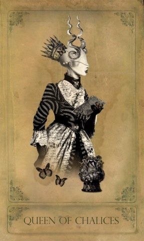 The Sepia Stains Tarot-Queen of Chalices -- If you love Tarot, visit me at www.WhiteRabbitTarot.com