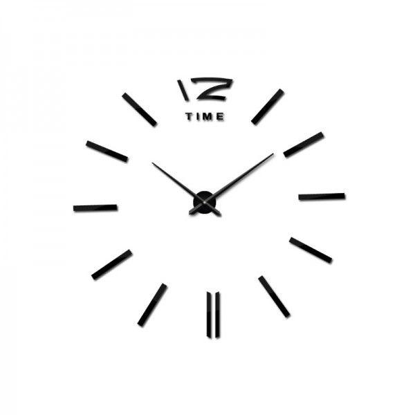 3D Nalepovacie hodiny DIY Clock BIG Time, čierne 90-130cm