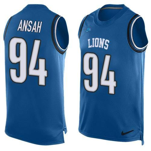 Men's Detroit Lions #94 Ziggy Ansah Light Blue Hot Pressing Player Name &…