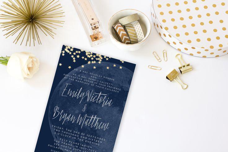 Moon Wedding Invitation Suite, Printable, Custom Invitation and Reply Card, Navy, Gold, Constellation, Modern Script | Moon & Stars