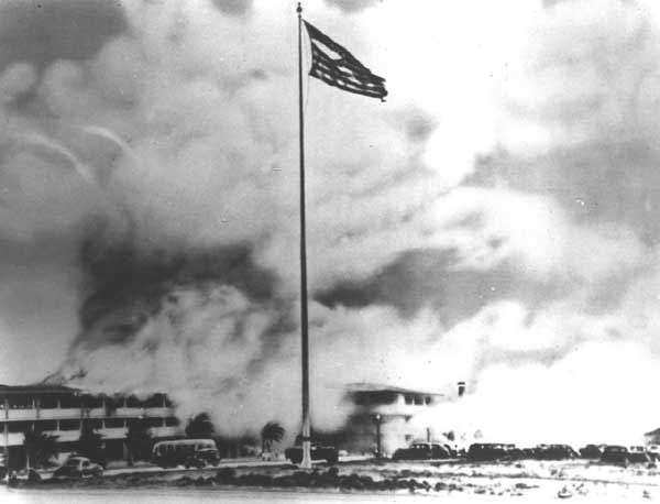 World War 11 Pearl Harbor | Authentic World War II Pictures - Pearl Harbor The flag flies over Hickam Field during the attack.