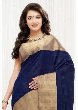 Blue pure silk aesthetic zari weaved saree with copper border -SR10371
