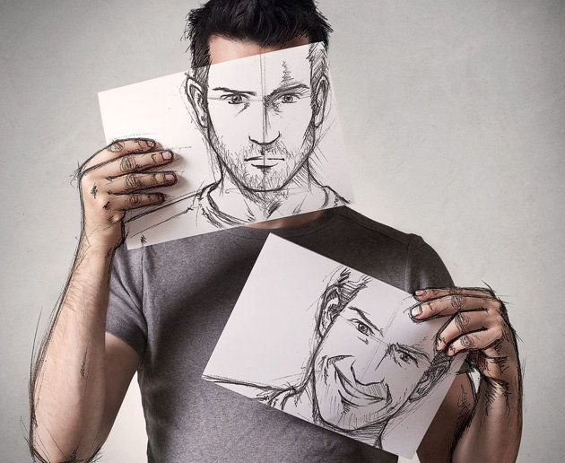 Two faced: 'The drawings are done with a simple pencil on a sheet of paper' Sebastien explained (Ross Parry)