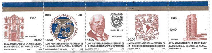 LXXV Aniversario de la apertura de la Universidad Nacional de México. Emblema, antiguo cOLEGIO DE san Ildefonso Justo Sierra, rectoría y actual escudo de la UNAM