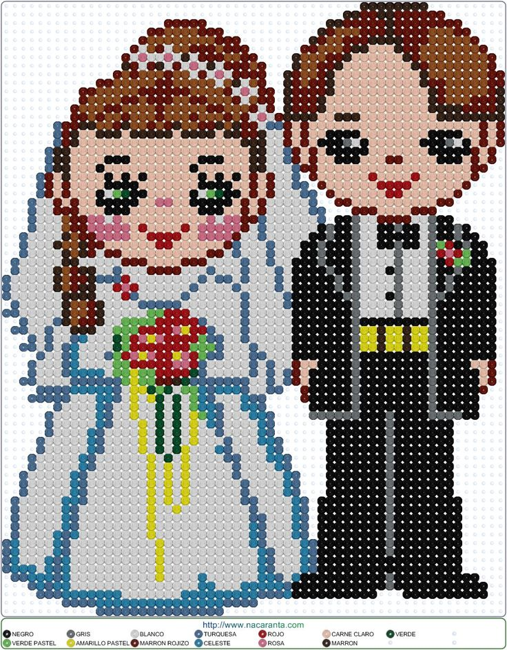 Bride and Groom - Wedding Perler Bead Pattern
