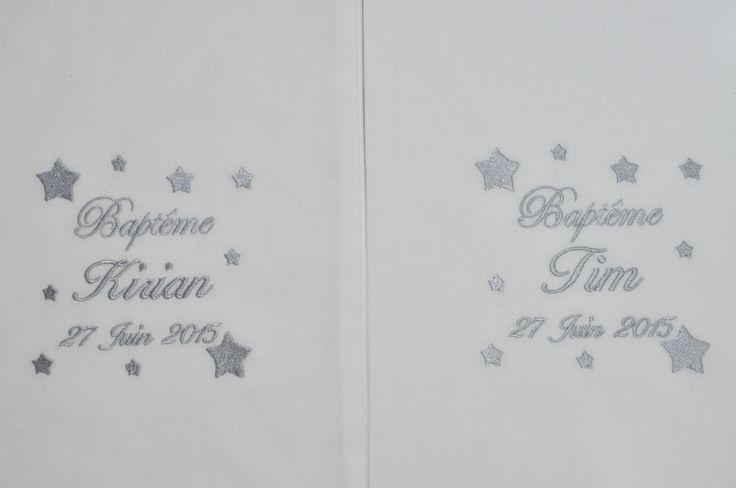 Pour jumeaux:2 écharpes de baptême bébé étoiles personnalisée brodée gris garçon ou fille : Mode Bébé par lbm-creation