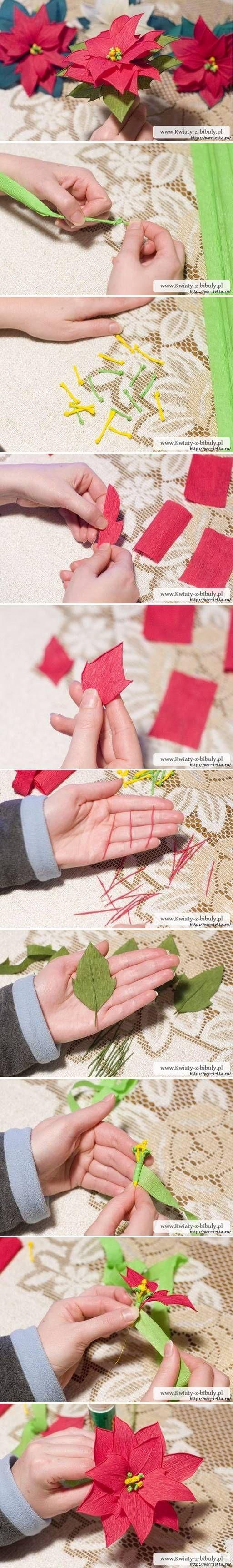 DIY Crepe Paper Poinsettia