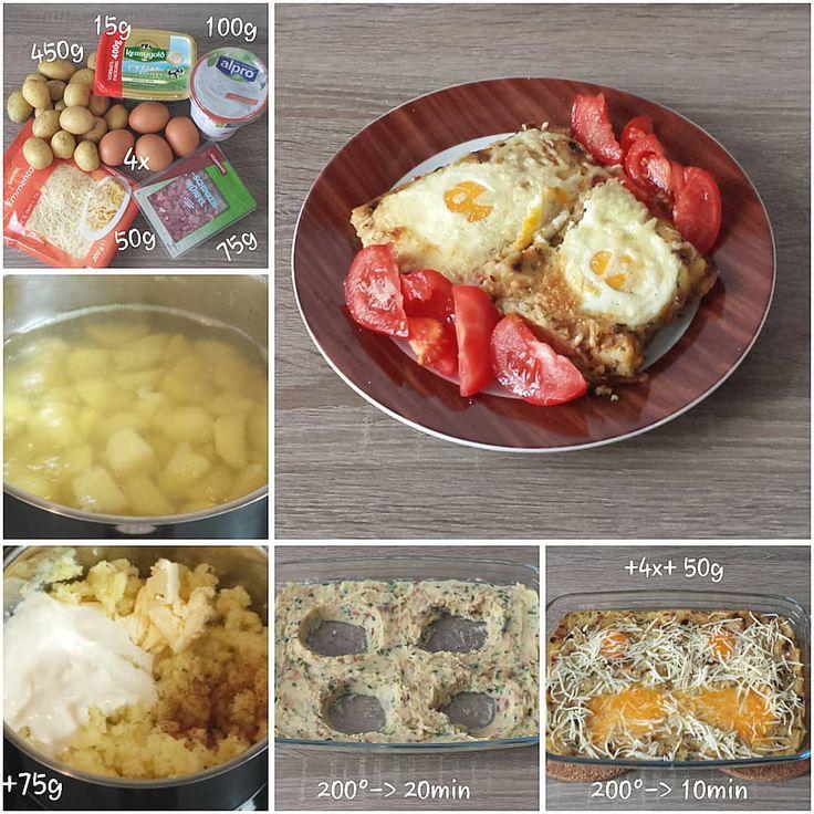 """Gefällt 1 Mal, 1 Kommentare - visual recipe step by step (@cookingwithm.e) auf Instagram: """"Ofenguck. --------------- #Kartoffel #Ei #Sojajoghurt #Butter #Käse #Schinken #potato #egg…"""""""