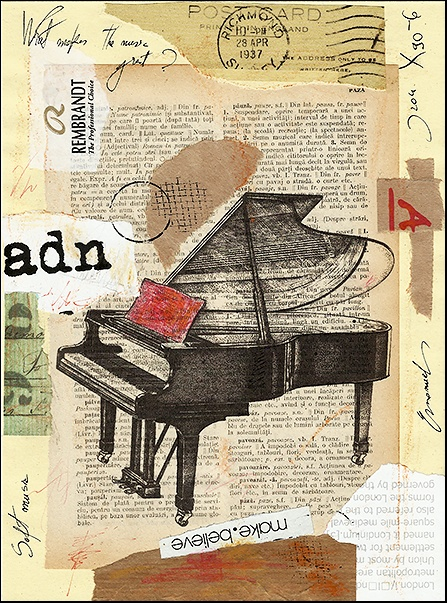 Piano Song - mixed media collage