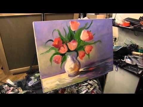 Научиться рисовать цветы в вазе, Сахаров, тюльпаны маслом на холсте - YouTube