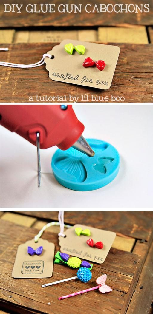 How to make glue gun cabochons using silicon molds via lilblueboo.com #diy #jewelry #gift #accessories