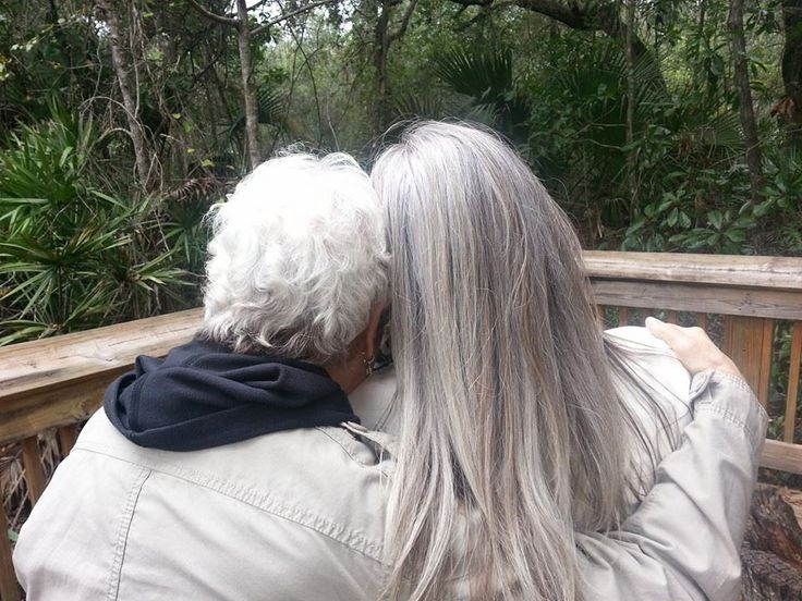 silver hair momma and daughter