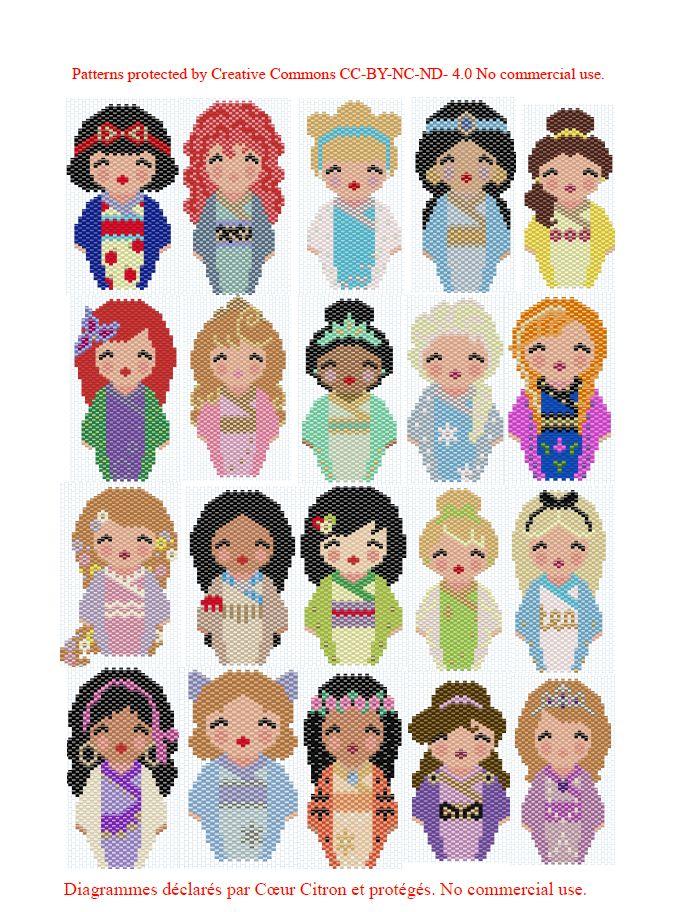 Et voici toutes les princesses! Il ne reste plus que les méchantes, les princes, les personnages secondaires… Bref il y a du boulot. En attendant d'obtenir la licence Disney ;) A bientô…