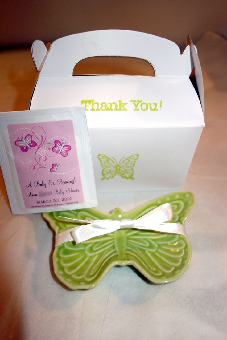 Favors at a friend's baby shower (tea bag and ceramic butterfly dish were inside gift box)