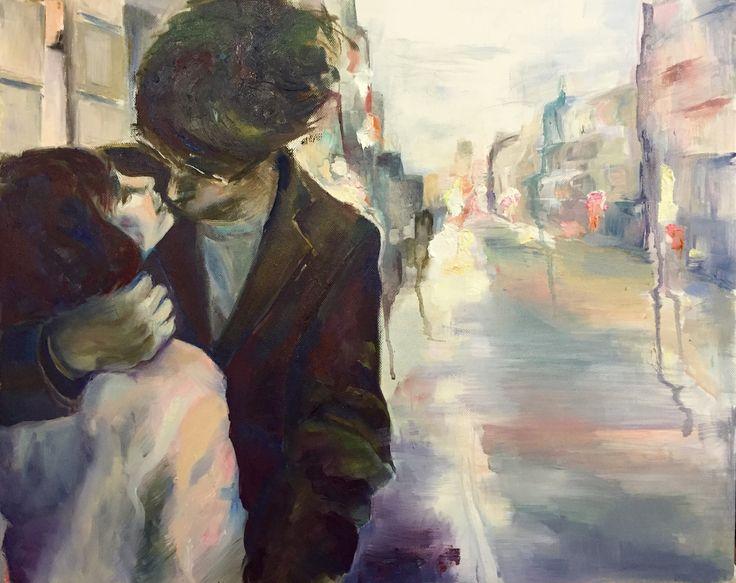Kiss #2, oil & canvas, art, painting