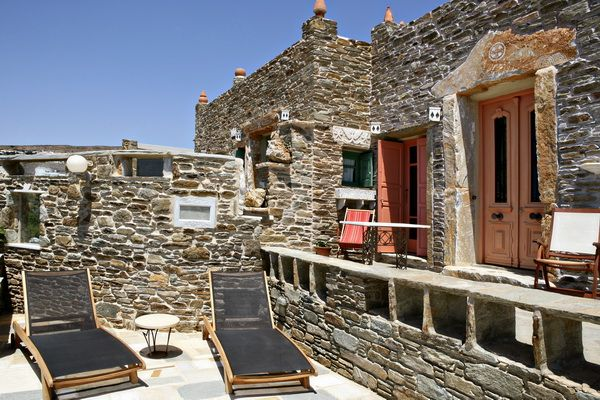 Panoramic sea view, private swimming pool, stone made walls, traditional architecture and modern comforts define the supreme style of the Orange House in Tinos Habitart http://www.tinos-habitart.gr/orange-house.php