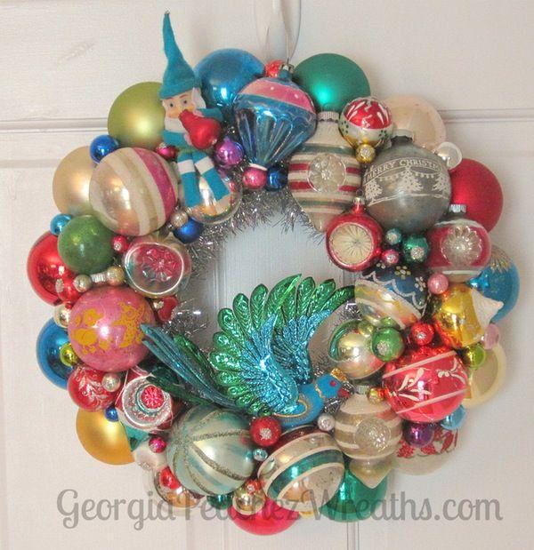 "Image of Vintage Shiny & Brite Christmas Ornament Wreath 2115 - 15"" diameter"