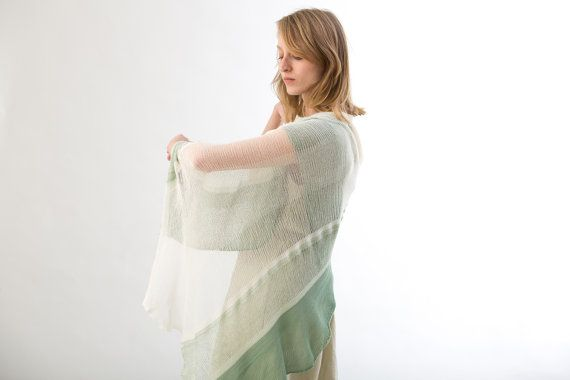 Summer shawl transparent shawl Green and white scarf by Toosha, $99.00