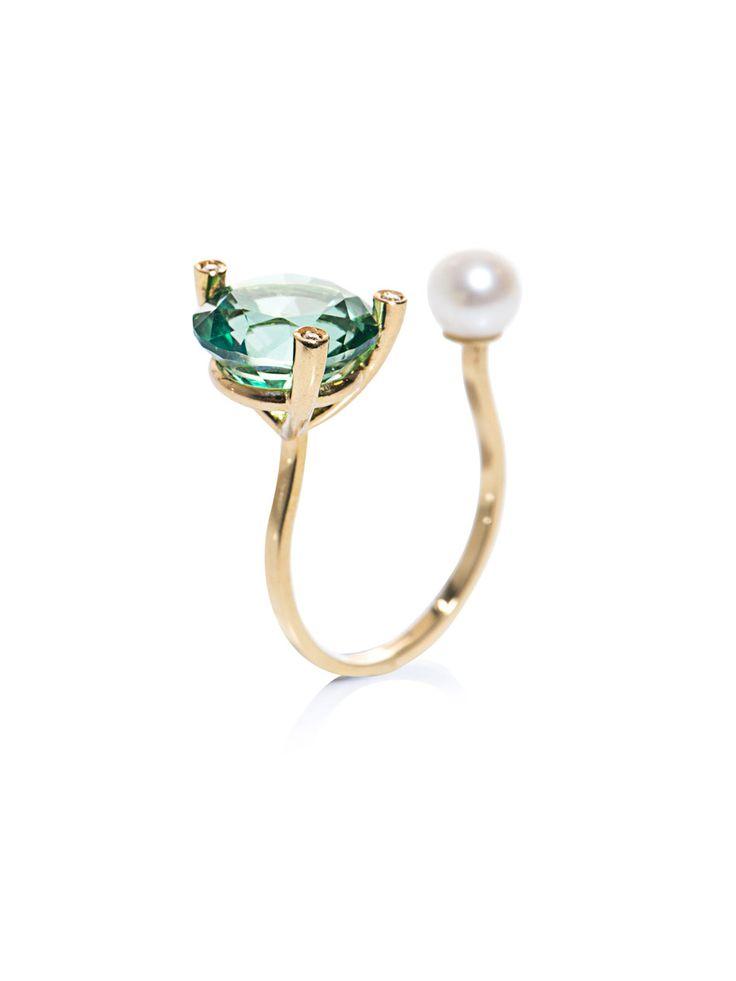 Diamonds, topaz, pearl and gold ring | Delfina Delettrez | MAT...