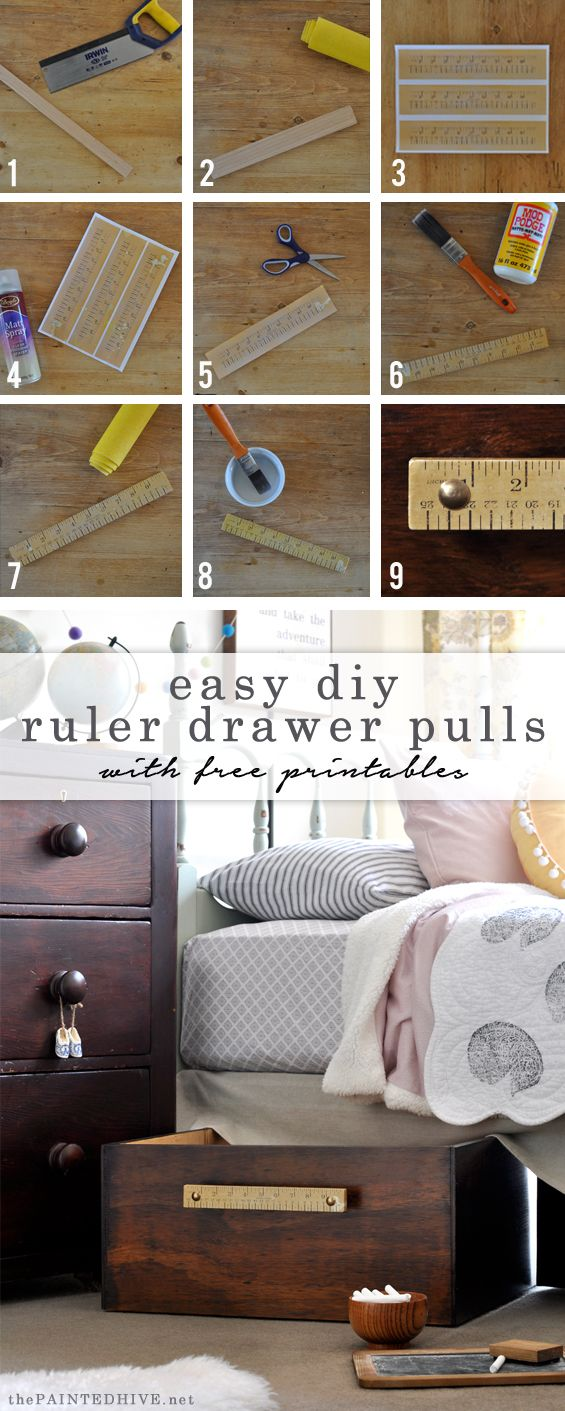 Make Your Own Vintage Style Ruler Drawer Pulls