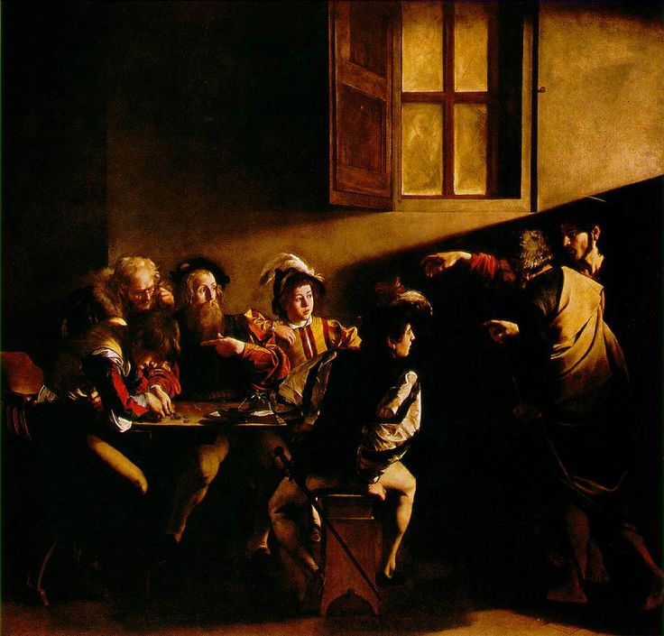 "Another favorite Caravaggio, ""The Calling of St. Matthew."" Note the way Christ is holding is hand. This is a nod to the Creation of Adam by the OTHER Michelangelo on the Sistine ceiling."