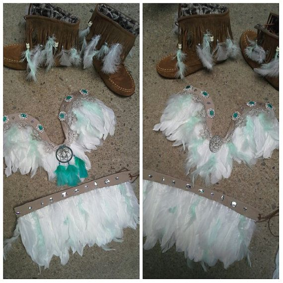 Dreamcatcher teal Indian rave outfit costume by BelleBandz on Etsy