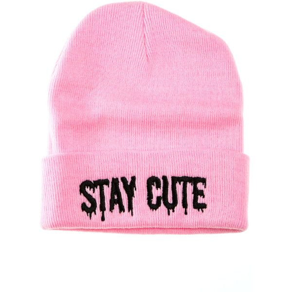 The Stay Cute Logo Beanie in Pink (£18) ❤ liked on Polyvore featuring accessories, hats, beanies, fillers, pink, pink hats, embroidered beanie, embroidery hats, beanie caps and embroidered hats