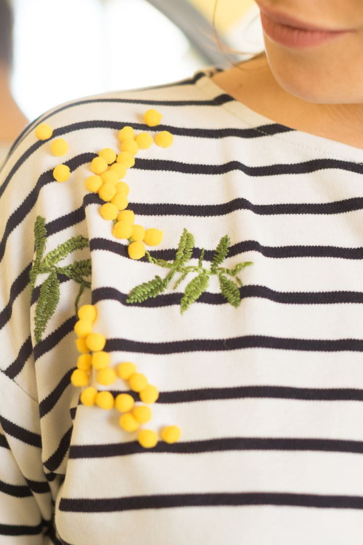 DIY de la broderie express Mimosa. Make My Lemonade. Couture, français, blog, gratuit, tuto