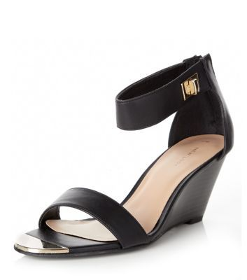 Black Metal Front Ankle Strap Wedges  | New Look