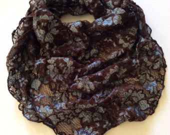Brown Lace Head scarf, Christmas Gift for Grandmother, Birthday Gift for Coworker, Office gift exchange, Church Mantilla Lace Head Scarf by blingscarves. Explore more products on http://blingscarves.etsy.com