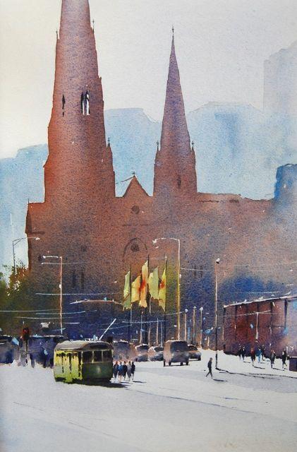 Contemporary Art Gallery Melbourne Australia :: Malcolm Beattie - Watercolourist :: St. Paul Cathedral Melbourne