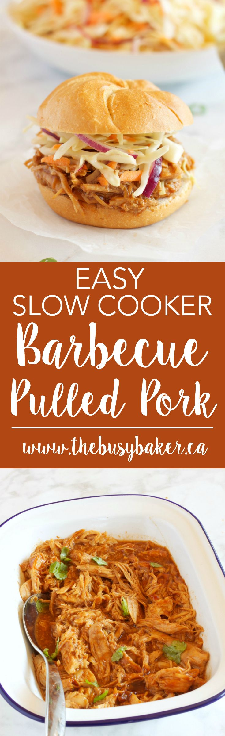 These Easy Slow Cooker Barbecue Pulled Pork Sandwiches feature a super easy 3-ingredient Slow Cooker Pulled Pork with an easy, healthy homemade coleslaw! Recipe from thebusybaker.ca! via @busybakerblog