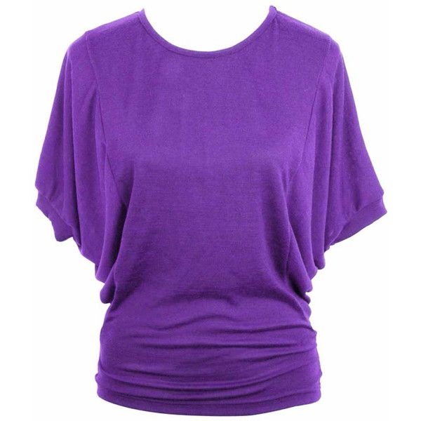 Jon & Anna  Purple Casual Jersey Knit Top With Dolman Sleeves ($20) ❤ liked on Polyvore featuring tops, t-shirts, shirts, purple, t shirts, jersey shirts, purple t shirt, dolman shirt and sleeve t shirt
