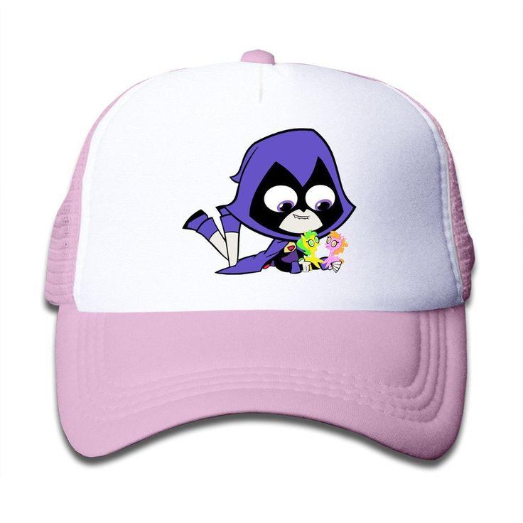 BAI XUE Kids Children Teen Titans Go And Raven Adjustable Mesh Back Cap Pink