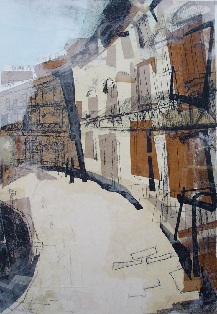 Newtown Crescent, Edinburgh Collage with Monoprint and Wax 2014