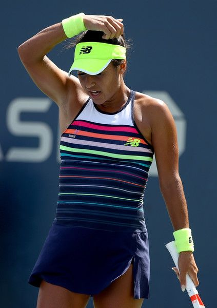 Heather Watson of Great Britain reacts during the first round Women's Singles match against Alize Cornet of France on Day One of the 2017 US Open at the USTA Billie Jean King National Tennis Center on August 28, 2017 in the Flushing neighborhood of the Queens borough of New York City.